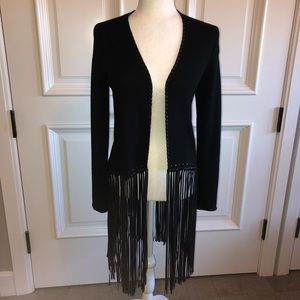 Zara Sweaters - Zara fringed sweater with faux leather detail